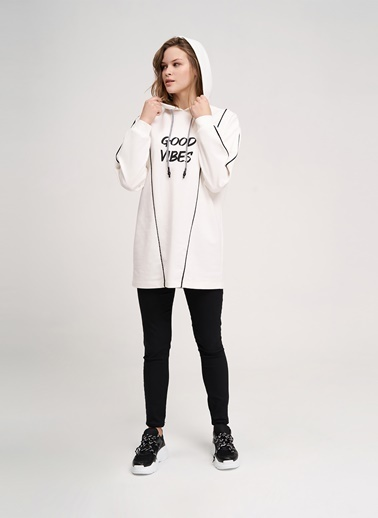 Mizalle Youth Sweatshirt Ekru